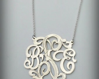 Monogram Necklace with Hand engraved leaf details - Sterling Silver - Personalized - Up to 3 initials