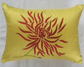Bright yellow  oblong pillow  with red  Chrysanthemum  embroidery  decorative cushion cover. Dupioni silk  luxury cushion cover Custom  made