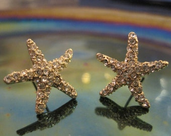 Gold Starfish Earrings - Stud Earrings - Rhinestone Starfish Earrings - Beach Earrings - Beach Wedding - Nautical Jewelry