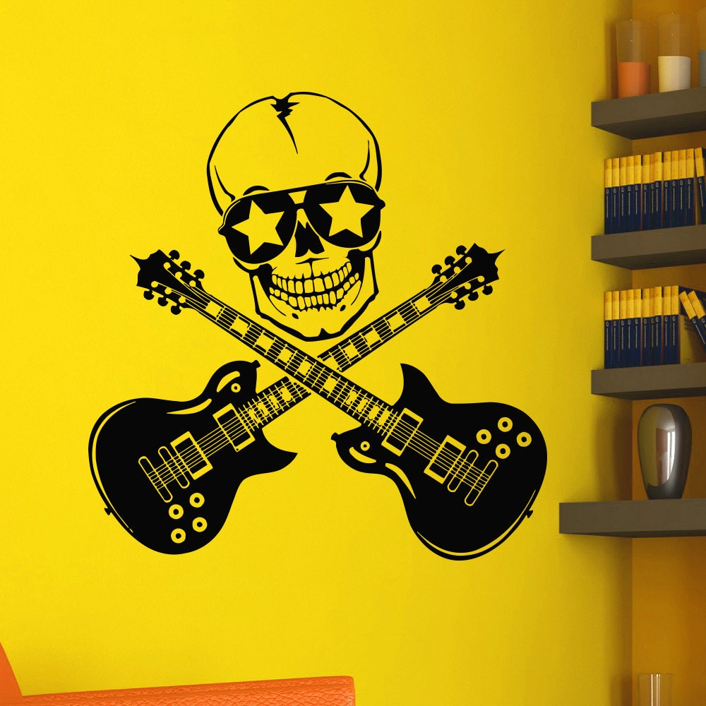 Vinyl Wall Decals Music Skull Guitars Rock Decal Sticker Home