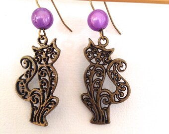 PURPLE CAT EARRINGS