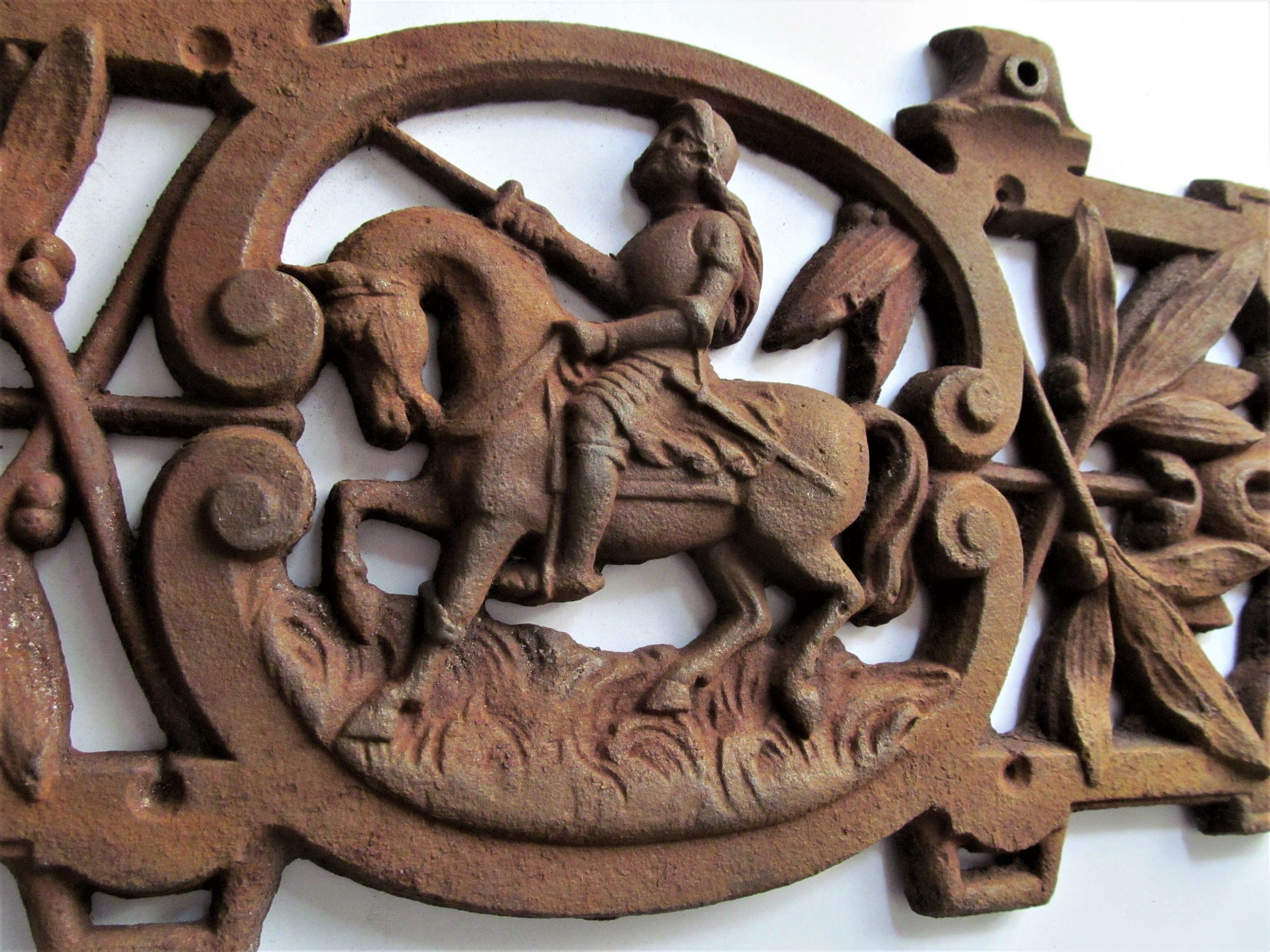 A Superb Antique French Cast Iron Bed Plaque Depicting Joan Of Arc On  Horseback. Medieval Rustic Salvaged Architectural Decoration
