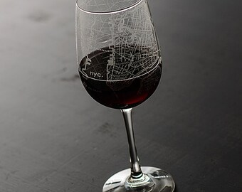 New York City Map Wine Glass