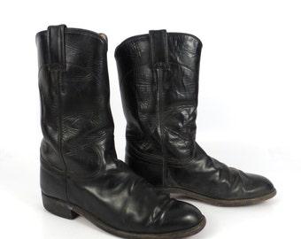 Black Cowboy Boots Vintage 1980s Justin Roper Women's size 6 C