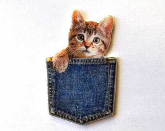 Cat brooch in the Pocket; Cat polymer clay and resin photo jewelry