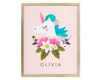 Girls Personalized Wall Print - Personalized Art Print - Unicorn Wall Print - Unicorn Wall Art - Nursery Room Art - Girls Nursery Room Art