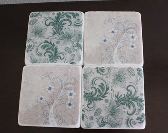 Floral Marble Coaster Set