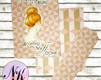 Planner Cover Messy Bun illustration with Quote, Planner Cover,inspiration print, Framable, use with Erin Condren Planner(TM), Happy Planner