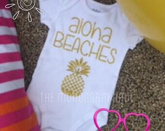 Aloha Beaches / Pineapple / Baby Girl Vacation Tshirt / Glitter Gold / Infants / Toddlers / Girls