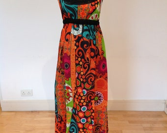 Beautiful orange print summer dress, Boho dress, maxi summer dress, 100% cotton print dress, hippie, boho style, bohemian