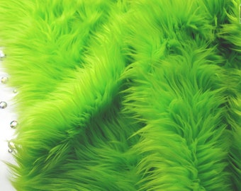 "Lime green faux fur 2"" pile, lime green craft squares, fursuit fur, cosplay fur, long pile faux fur, shag fur, faux fur, lime green fur"