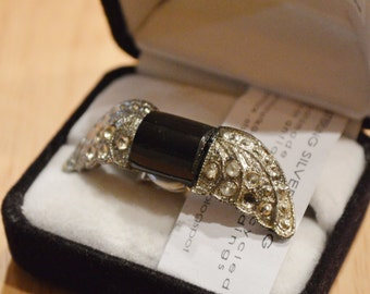 ON SALE! Upcycled 1930's Rhinestone Valkyrie Sterling Silver Ring