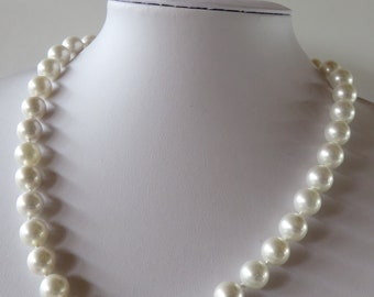 """Handmade knotted faux Pearl necklace - Creamy white beads - Length  47 cm / 18.5 """" - Diameter  10 mm- Mother's Day"""