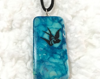 Painted Bird Domino Necklace