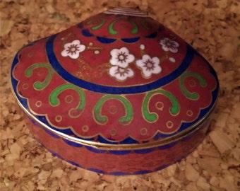 Vintage Cloisonne Trinket Box, Fan Shape Dogwood Blossoms, Burgundy Hinged Brass Enamel Ring Box