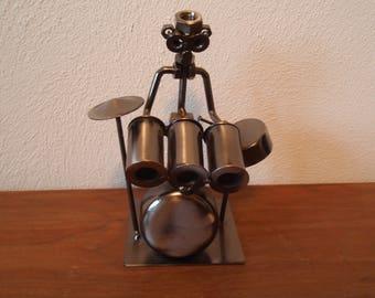 Metal Art Drummer Musician Figure Band Home and Living décor Metal Figurine C583