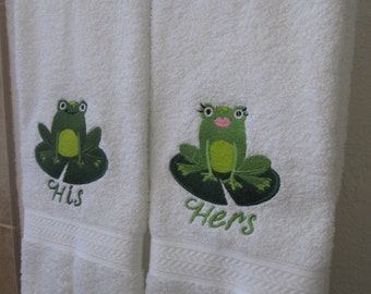 Lily pad his and hers frog towels