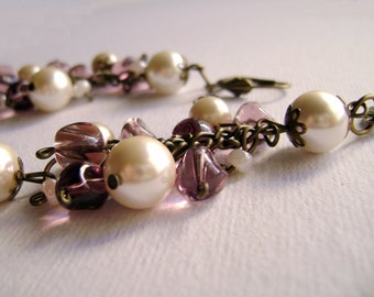Amazing Grace - elegant feminine czech pearls and soft pink glass long earrings medium weight