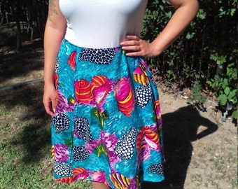 Cotton wrap skirt,fish,seashells,medium,skirt