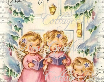 PINK CHRISTMAS Angels vintage shabby cottage  Large digital download  ECS buy 3 get one free