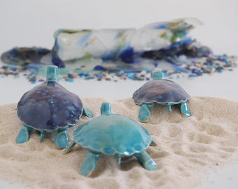Sea turtle,ceramic, cobalt blue and turquoise glazes with poem, small