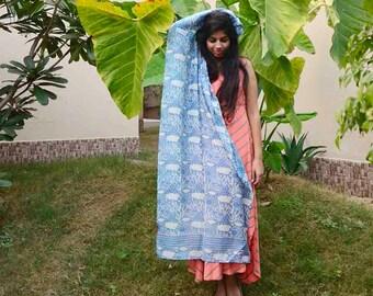 indigo blue navy cotton silk scarf, hand dyed, block printed scarf, gifts for women, light blue scarf, Fashion scarf, anniversary gift- Rain