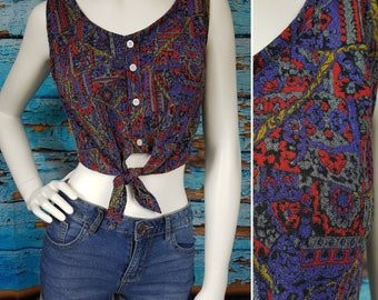 80s / 90s revamped cropped top. Size 8 to 10.