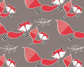 Mama & Me Foxes Fabric - Taupe - sold by the 1/2 yard