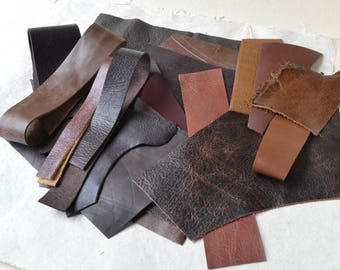Leather Scrap Pack - 8 Ounces of  Quality Leather Scrap Pieces