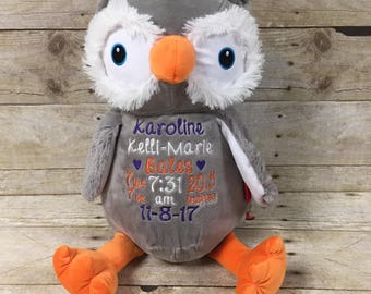Embroidered owl etsy birth stat stuffed animal personalized baby gift personalized owl embroidered owl custom negle Choice Image
