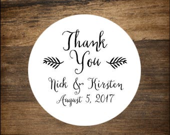 "Wedding stickers, 1"" round, set of 63.  Personalized labels. Thank You with leaf design. Bridal shower or party favor stickers."