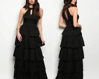 Black Spanish Ruffle style Long Maxi Evening Dress by Paulina