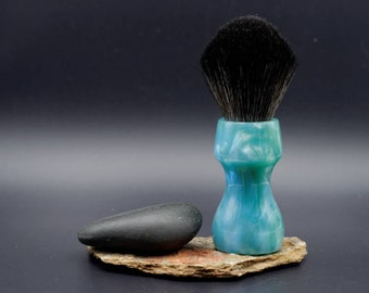 Shaving Brush - Hand-Made with hand-poured Blue and Silver Resin Handle and a Choice of Knots
