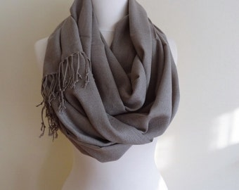 Grey Color Pashmina Infinity Scarf, Fringe Scarf, Circle Scarf, Scarves, Shawls, Extra Long Oversize Infinity Scarf