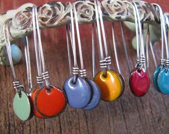 Colorful Enamel & Sterling Silver Earrings, Enamel Earrings, Enamel Jewelry,  Enameled Toniraecreations
