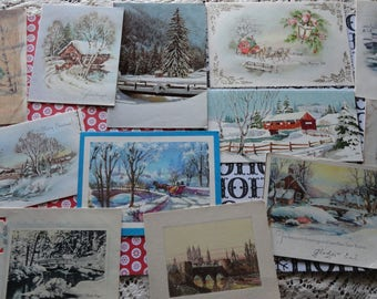 Bridge Over Icy Waters in Vintage Christmas Card Lot No 1005 Total of 12 Winter Scenes Sleighs Carriages