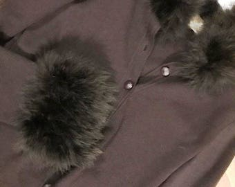 GAI MATTIOLO - Brown wool vintage jacket with collar and borders in Marabou fur
