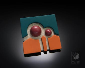 """Square Brooch """"Trees"""" - One of A Kind"""