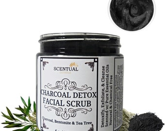 ORGANIC CHARCOAL FACE Scrub, Pore Cleansing Charcoal Scrub, Activated Charcoal Face Cleanser, Detox Facial Scrub, Face Scrub for Acne