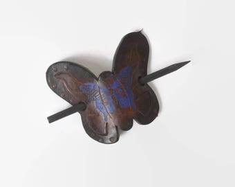 Vintage 70s HAIR Barrette / 1970s Hand Painted Butterfly Leather Ponytail Holder