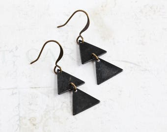 Black Triangle Earrings, Black Brass Dangle Earrings on Antiqued Brass Hooks, Geometric Jewelry (Two Triangle)