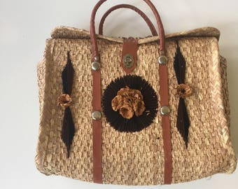 Vintage Mexican Straw Beach Tote Bag 60s 70s