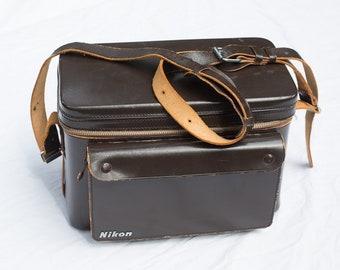 Vintage Nikon Camera Case / Carry Bag - Brown Leather - Made in Japan