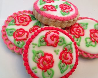 Shabby chic rose cookies