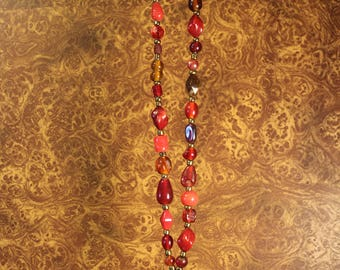 Red Glass Beaded Necklace with Red Charm