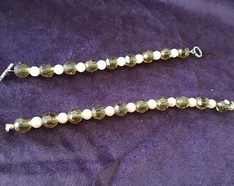 Smoky Glass Bead and Pearl Bracelet