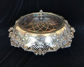 REDLICH Antique STERLING Silver Art Nouveau Large Centerpiece Bowl w/Liner & Lid