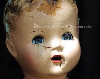 blue eyes, doll head photo, beautiful vintage doll head,  sweetly shabby old doll art photo, creepy cute