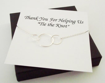Large Triple Circle Infinity Necklace ~Personalized Jewelry Gift Card for Bridal Party, Mom, Mother of Groom and Bride, Sister, Best Friend