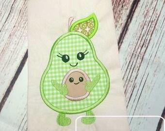 Avocado Baby Applique Embroidery Design - Avocado Applique Design - Baby Applique Design - New Baby Applique Design - Pregnancy Applique